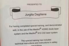 2016 m. sertifikatas darbui su lazeriu